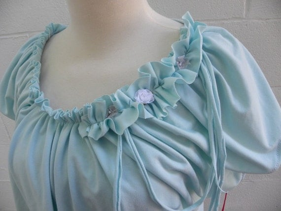 Almost Aqua Blue ruffled Knit Top 1X  recycled clothing Plus size