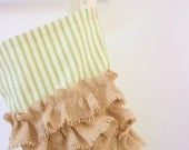 Christmas Stocking in green ticking with burlap ruffles