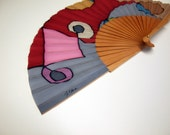 Handpainted Silk Hand fan Grey-Blue- Maroon-Purple- Pink
