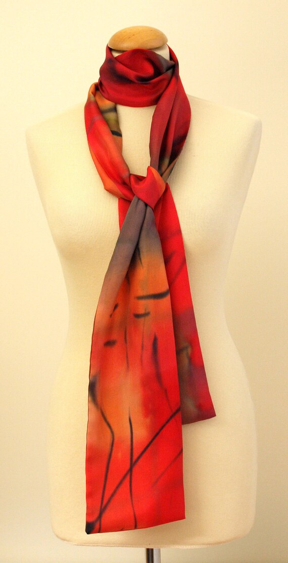 Silk scarf - Hand painted Red/Orange/Black/Green Abstract design