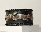 Leather Cuff with Snakeskin