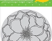 Reserved -- Hero Arts Rubber Stamps Clings Stencil Flower CG194