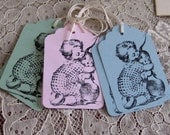 6 Easter Gift Tags Child with Bunny