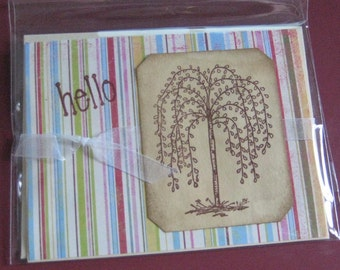 Greeting Card hello with Willow Tree