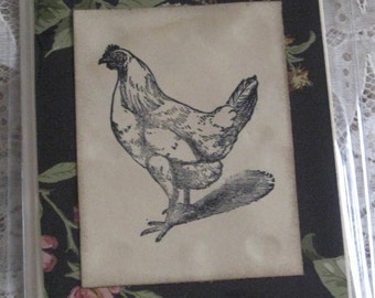 Handmade old fashioned Note Card with Chicken