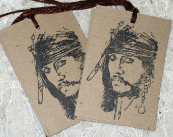 6 Caribean Pirate Gift Tags
