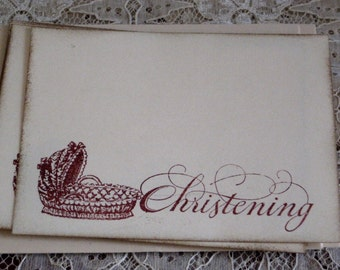 Baby Christening  Thank You Note Cards Set of 4