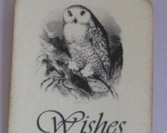 25 Wishes Gift Tags with Owl  Made to Order Weddings Birthdays Showers