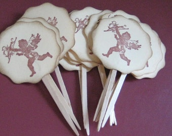 12 Cupid Cupcake Toppers Weddings Valentines Day