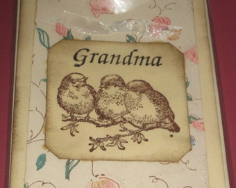 Grandma with Birds Greeting Card Handmade