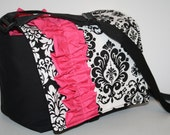 Womens Messenger Diaper Bag Nappy Tote Baby Bag Book Tote Bag More Pockets pink ruffle XcessRize Designs