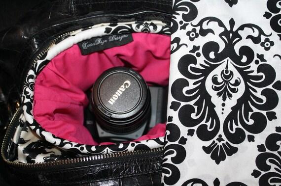Digital Slr Camera Bag Dslr camera Bag insert Camera Coozy for purse damask pink Womens Small Size XcessRize Designs