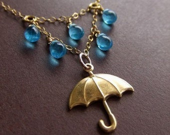 Rainy Day Umbrella Jewelry Necklace - 14K Gold Filled - Brass Jewelry - Droplets - Singing in the Rain - Meteorologists - Gift for Her
