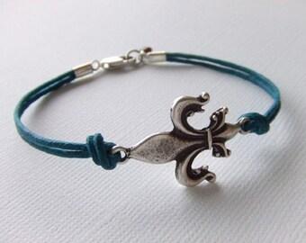 Fleur-de-Lis Jewelry Bracelet - The Originals - Garnet Gemstone - Antique Silver Bracelet - Gift for Her - Teal Cord - Valentines Day Gift