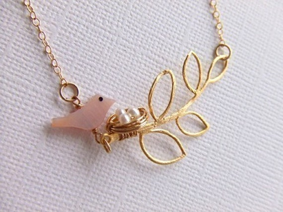 Golden Branch & Egg Nest Jewelry Necklace, Sparrow Bird Necklace,14K Gold Filled, Under 30, Gift Guide
