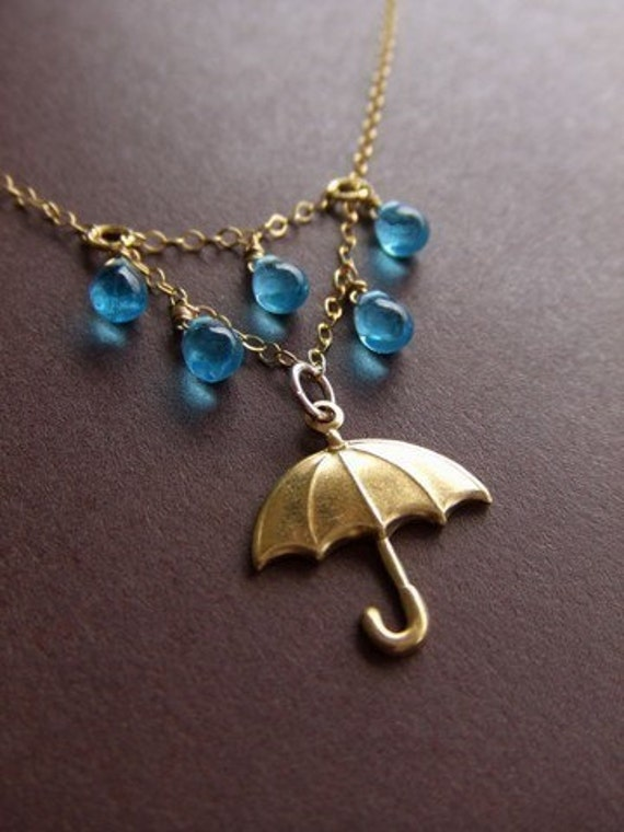 Rainy Day Umbrella Jewelry Necklace - 14K Gold Filled / Brass Jewelry - Water - Gift for Her - Singing in the Rain - Valentines Day Gift