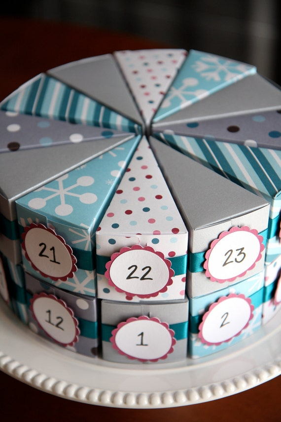 30% OFF - Snow and Ice Advent Cake - Set of 24 - Countdown til Christmas