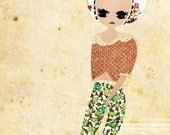 Floral Lady postcard