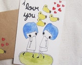 My Ducky Love Hand Drawn Set Of Card and Envelope