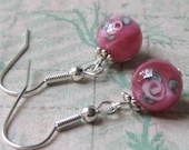 Pink earrings round rosaline czech glass beads with rose