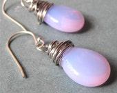 Opal czech glass drop earring wire wrapped - milky alexandrite