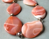 Necklace pink agate and czech glass statement SALE 50% off listed price