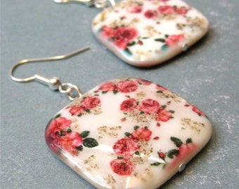 Red roses on square shell earrings - chintz. HALF PRICE SALE. Take 50% off.