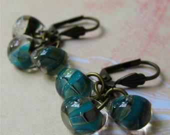 Earrings three aqua blue glass beads drops on copper hooks - ocean drops