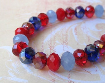 Bracelet blue and red glass faceted crystals. HALF PRICE SALE. Take 50% off.