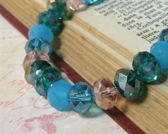 Bracelet aqua blue teal and pink glass faceted crystals HALF PRICE