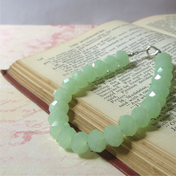 Bracelet pale milky green glass faceted crystals