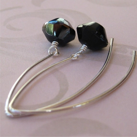 Earrings Black Czech glass and sterling silver earwires - Charcoal ice