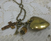 Jesus Holds the Key to My Heart Antique Gold Tone Charm Cluster Necklace