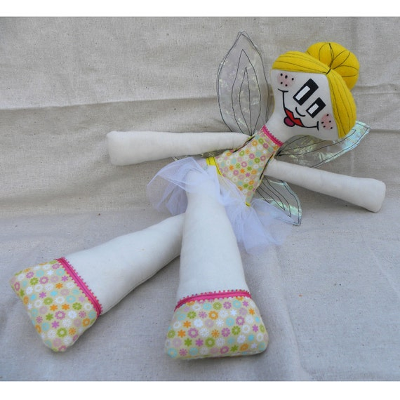 SALE - FREE SHIPPING -  Fairy doll  -  Lemon drop - yellow - plush - collectable