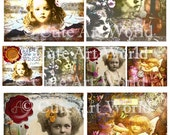 Digital Collage Sheet 4x4 and 2x2 Vintage Sparkling Beauties Altered Art Card Scrapbooking Journals Soldered Glass Hang Tags Jewelry