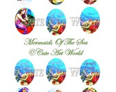 Digital Collage Sheet 2x2 inches Oval Design Two Vintage Mermaids Of The Sea  Card Making Soldered Glass Hang Tags Jewelry Making
