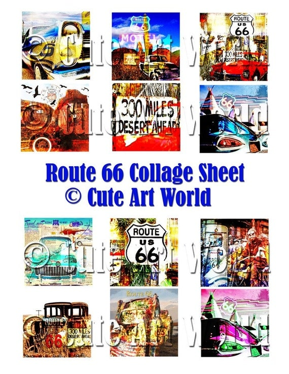 Digital Collage Sheet 2x2 inches block square Route 66 Designs Altered Art Card Making Scrapbooking Journals Soldered