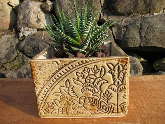 Cube stoneware planter with batik design