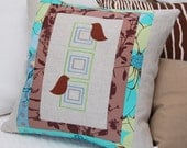 Birds and Squares Pillow Cover 18 inch