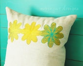 Spirograph Flowers in Chartreuse Linen Pillow Cover 18x18 inch