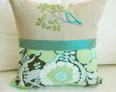 Pillow Cover in Scribbled Bird and Branches Gray and Turquoise