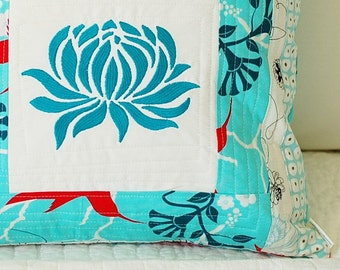 Water Lily Patchwork Pillow Cover 16x16