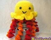 Jellyfish Plush - Crochet Amigurumi Orange, Yellow and Red