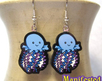 Jellyfish Earrings - Blue and Purple