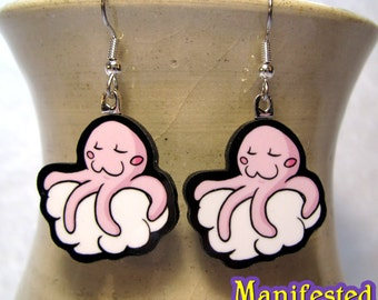 Octopus Earrings - Pink Sleepy Cloud Octobloop