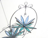 Appreciated - Small Stained Glass Lotus Spinner -  Pastel 3D Flower Home Garden Decor Nature Yard Art Suncatcher Wire Crystal Prism