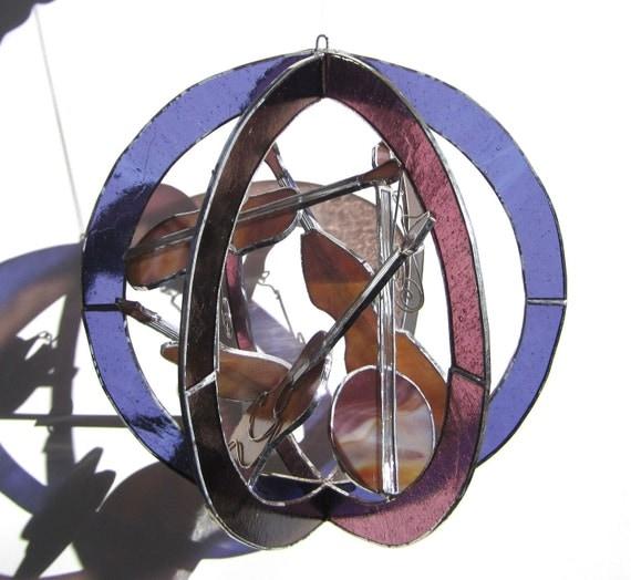 Appalachian Sounds - Large Stained Glass 3D Sphere - Purple Music Instruments Guitar Fiddle Violin Banjo Bass Mandolin Home Decor Suncatcher