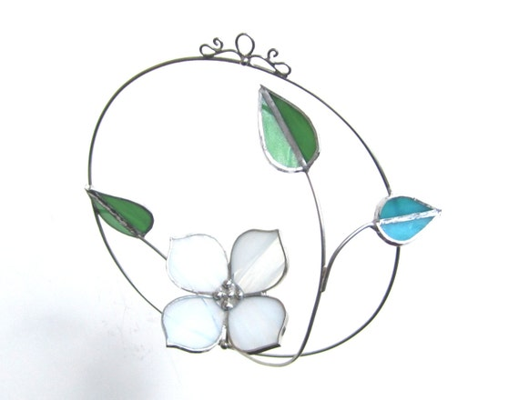 In Bloom - Stained Glass Kinetic Mobile - Spinning Dogwood Flower 3D Flower Home Garden Decor Nature Suncatcher Wire (Made to Order)
