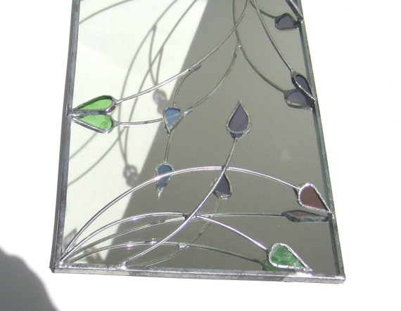 Spring Reflections - 3D Stained Glass Wall Accent - Home Decorative Hanging Wire Mirror Wall Hanging Pastel Leaves Leaf Handmade