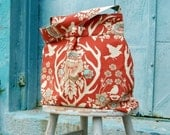 Deer Antler Terra Cotta Purse, Maket Tote, Reversible, Joel Dewberry Fabric